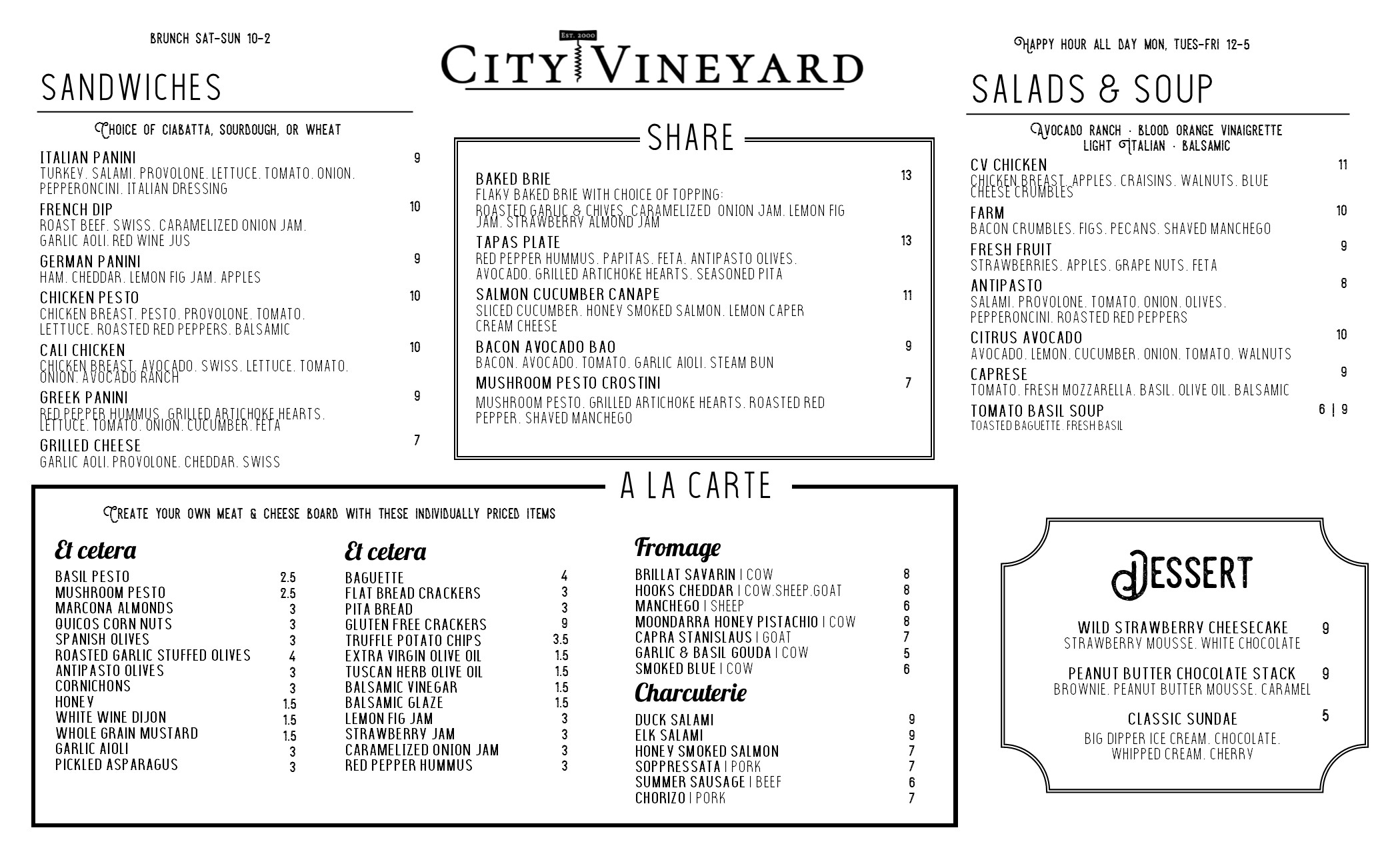city vineyard bar menu